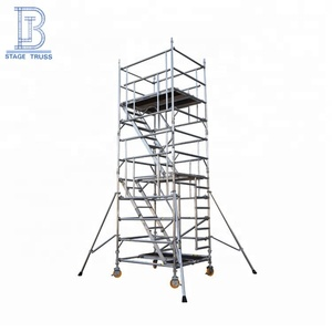 Mobile construction aluminum scaffolding cuplock system with ladder and wheels