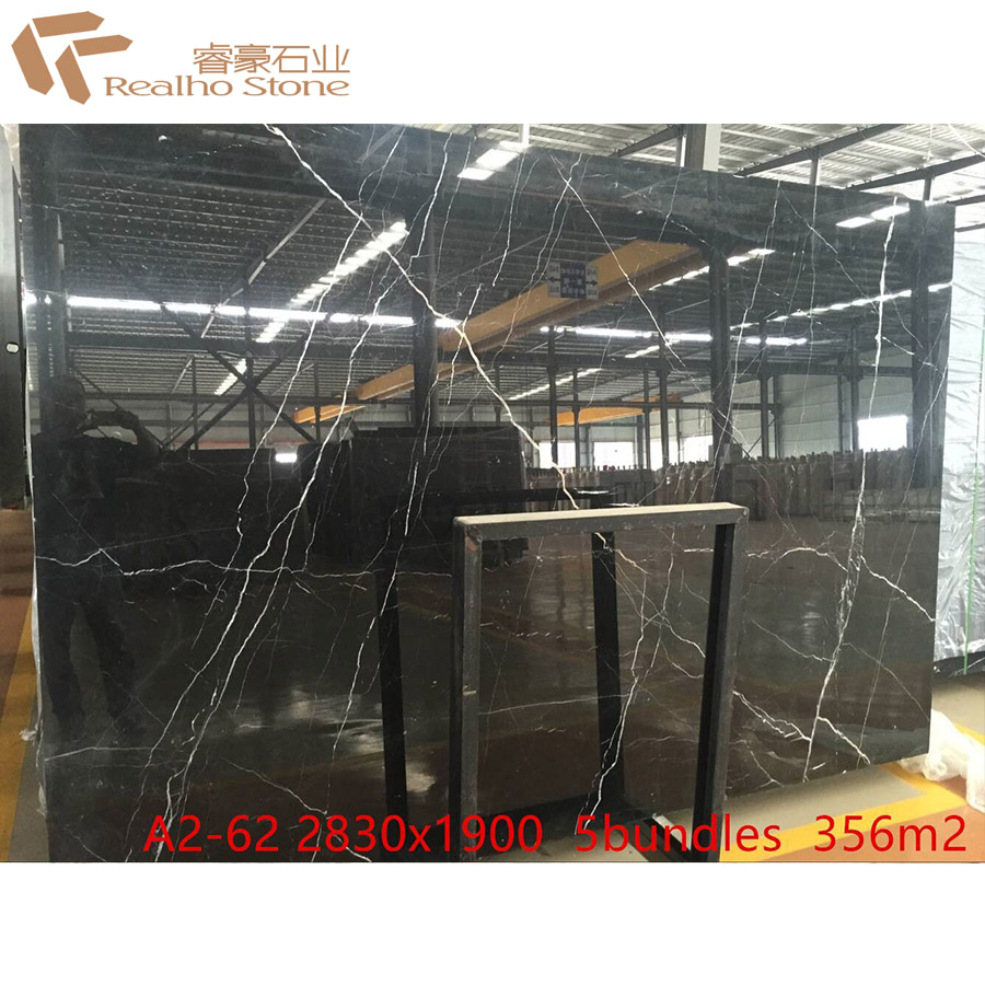 China Competitive Nero Black Marquina Marble Price