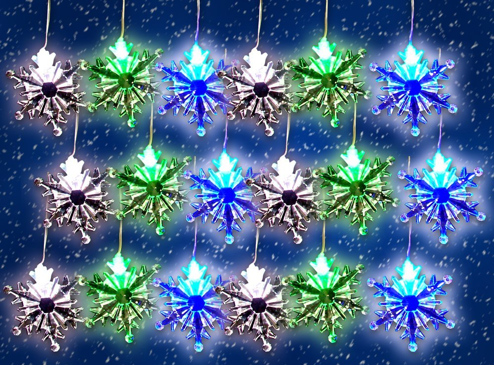 Led Color Changing Snowflake Lights 96 String Light With 18 Acrylic Hanging Snowflakes
