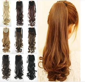 10 ColorHigh Temperature Fiber Synthetic Women Hair Extensions Black Blonde Wavy Ponytail Tie Up ponytail