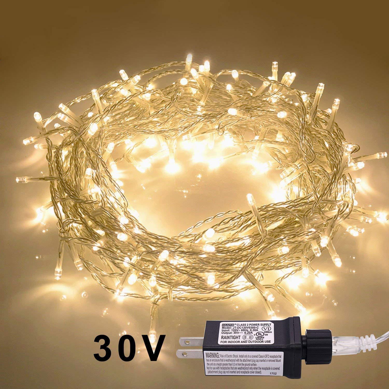JMEXSUSS 30V 8 Modes 200LED 82.1ft Indoor String Light Christmas Lights Fairy String Lights Homes, Christmas Tree, Wedding Party, Bedroom, Indoor Wall Decoration (200LED, Warm White)