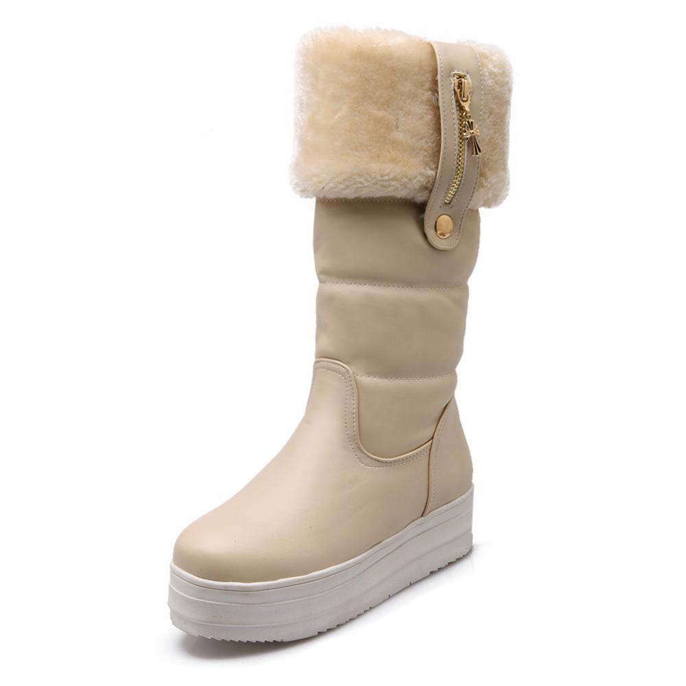 Winter Snow Boots Platform Wedge Mid Mid Calf Boots Women