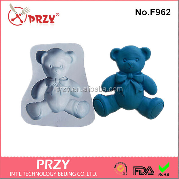 F962 Eco-Friendly handmade silicone bear fondant mold food grade fondant mold