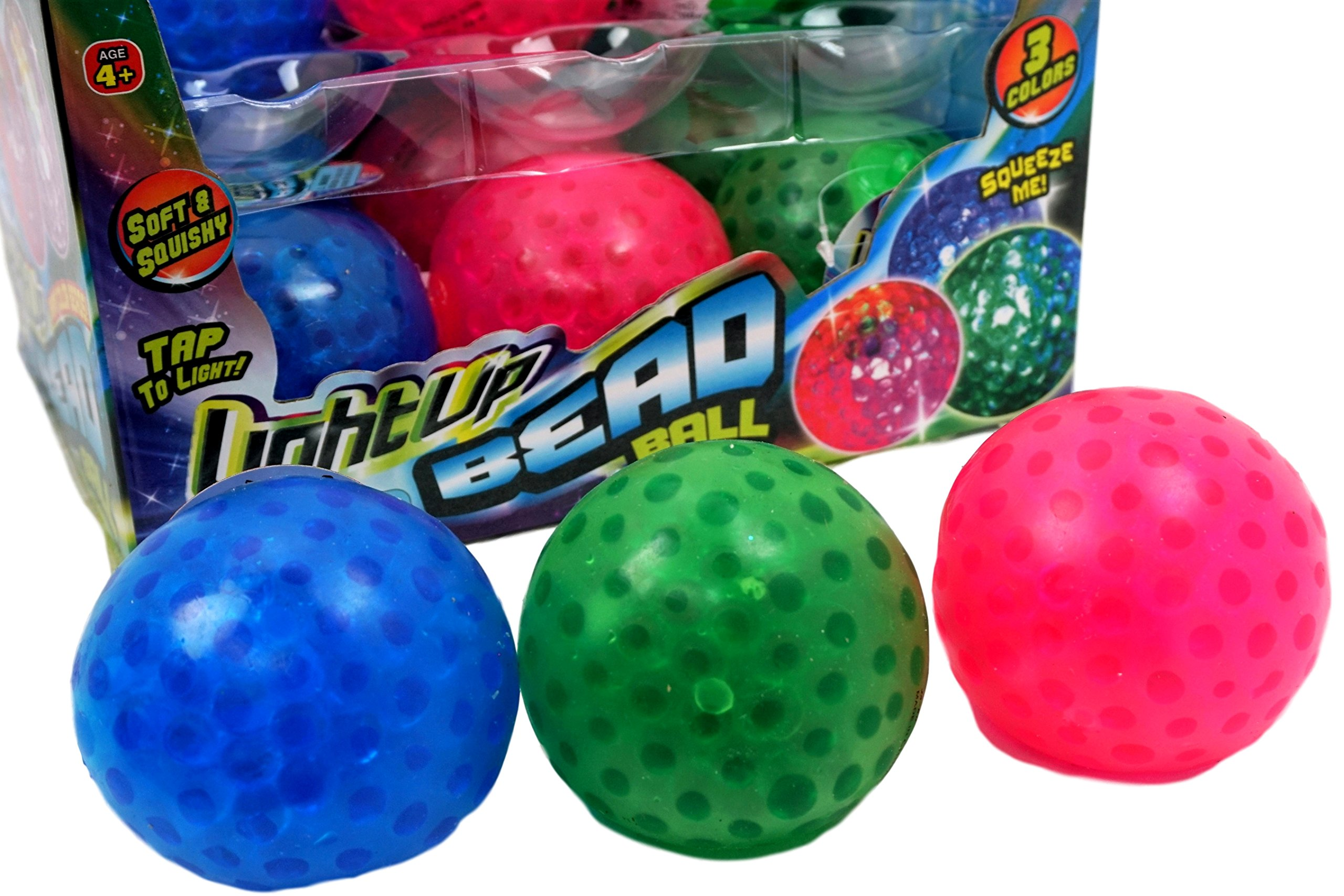 Light Up Bead Bead Ball by JA-RU | Glow in the Dark Squishy Toy Vibrant Colors to Light Up the Room Pack of 1 | Item #4205