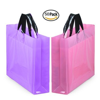 Large Merchandise Bags With Handles Bottom Gusset Pink Thick Frosted Plastic Gift Retail Clothing