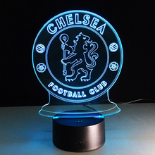 USB <span class=keywords><strong>Baru</strong></span> 3D Akrilik Lampu Chelsea Football Club LED Touch Lampu