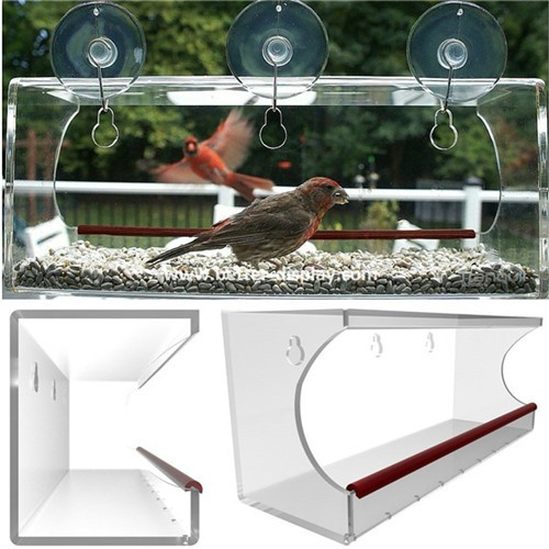 Large Acrylic Window Bird Feeder with 3 Heavy Duty Suction Cups