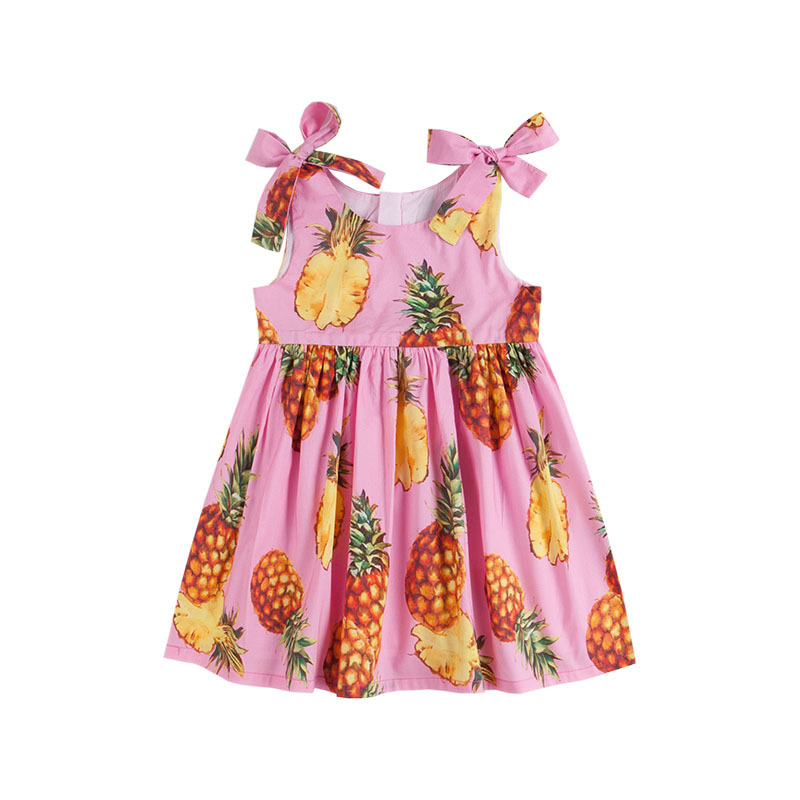 Kids Little Girls' Floral Cotton Pineapple Printed Pink Summer Casual Boutique Dress