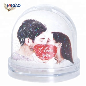 OEM wedding decoration plastic acrylic snow globe with picture photo frame
