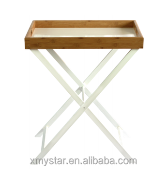 Foldable bamboo serving tray table bamboo tray table with foldable white legs