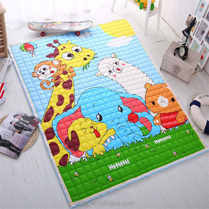 Cute and cheap Baby Crawling Mats cartoon printed Cotton Floor Play Carpet baby game mat Quilted Portable Picnic Mat