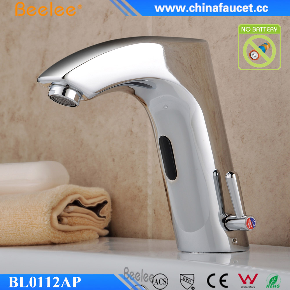 Brass Sink Hot and Cold Function Faucet Infrared Motion Sensor Mixer Without Battery