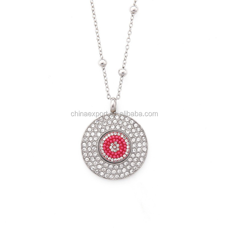 Alibaba Round Crystal Charm Stainless Steel Pendant Necklace