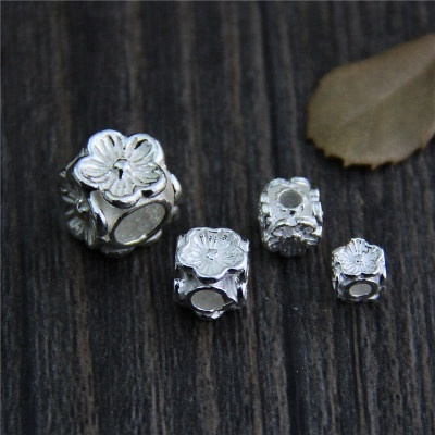 Genuine S 925 Sterling Silver plum beads Accessories Jewelry DIY Handmade Flowers Findings Ethnic Spacer Beads