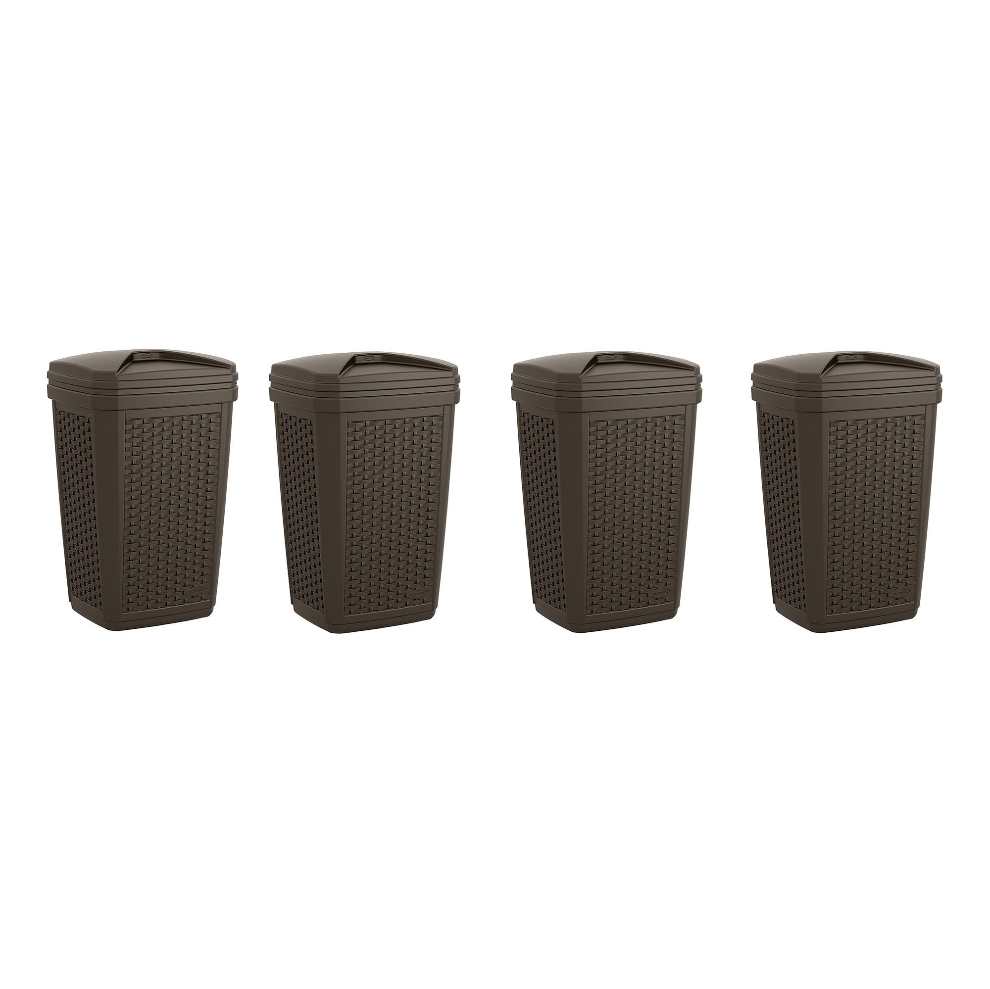 Get Quotations · Suncast 30 Gallon Resin Wicker Decorative Outdoor Trash  Hideaway, Java (4 Pack)