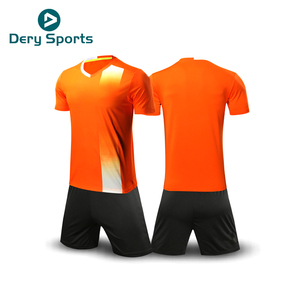 men team 100%polyester football kit cheap orange soccer custom football uniforms