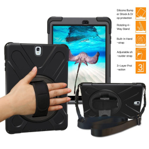 "Hybrid Protective Armor Tablet Case for Samsung Galaxy Tab S3 9.7"" T820, with Hand Strap Handle Shoulder Belt Carry"