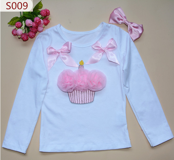 Free Shipping Baby Girl Cakes T Shirt Kids Long Sleeve T