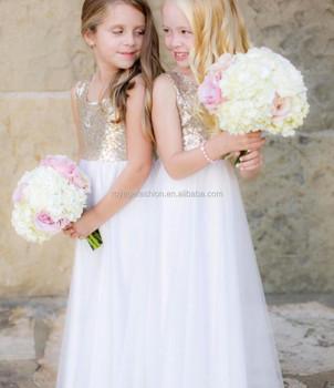 463de327 Newest girls ivory bohemian wedding tulle dress gold sequin flower dress