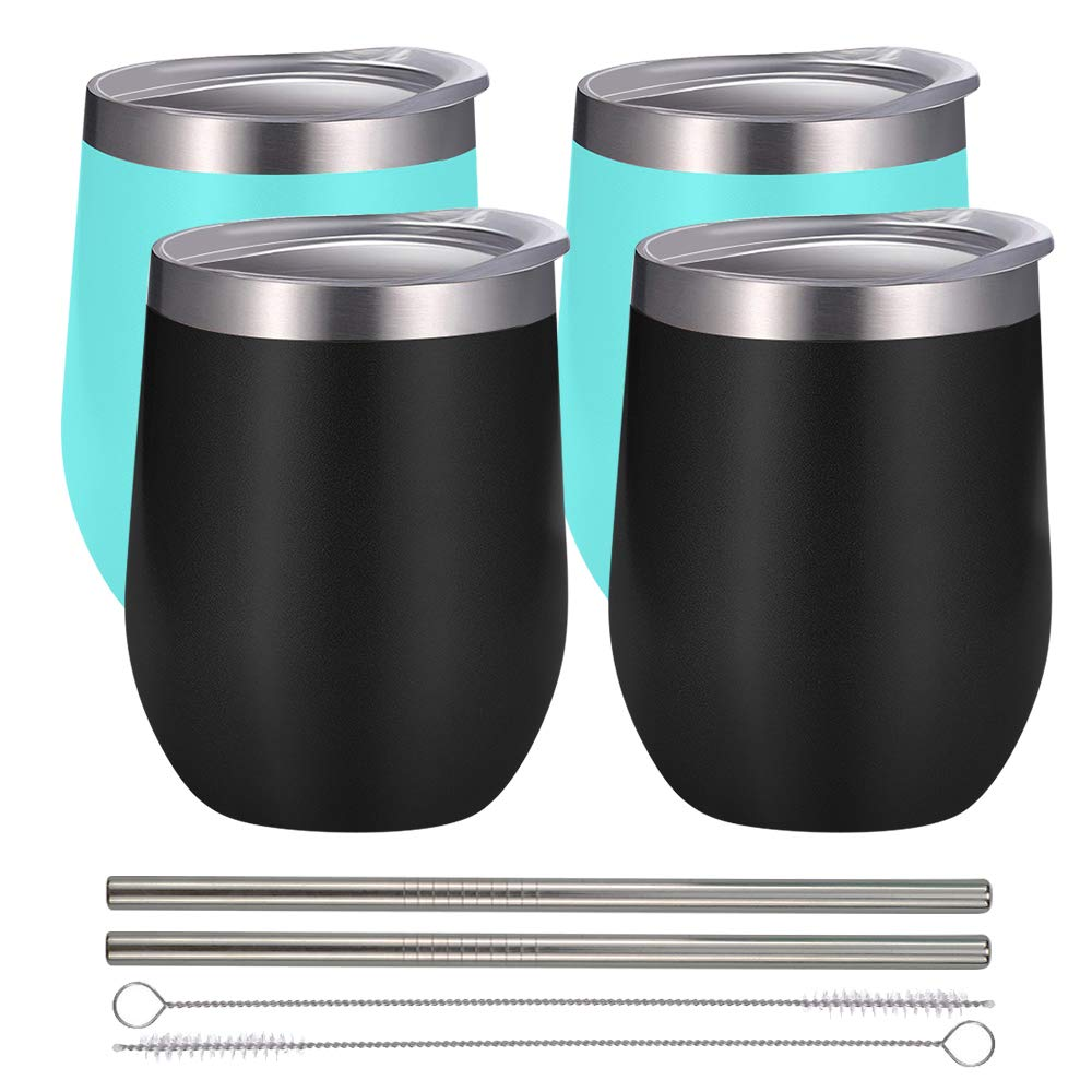 Alibaba.com / 12 oz Double wall full Vacuum Insulated Travel Metal Tumbler  Cup with Lid,Straw and Straw brush