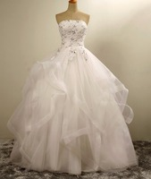 ZHF21 Sexy strapless wedding dress 2018 luxury ball gown crystal wedding dresses