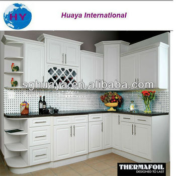 Hot Modern Style White Color Pvc Thermal Foil Kitchen Cabinet