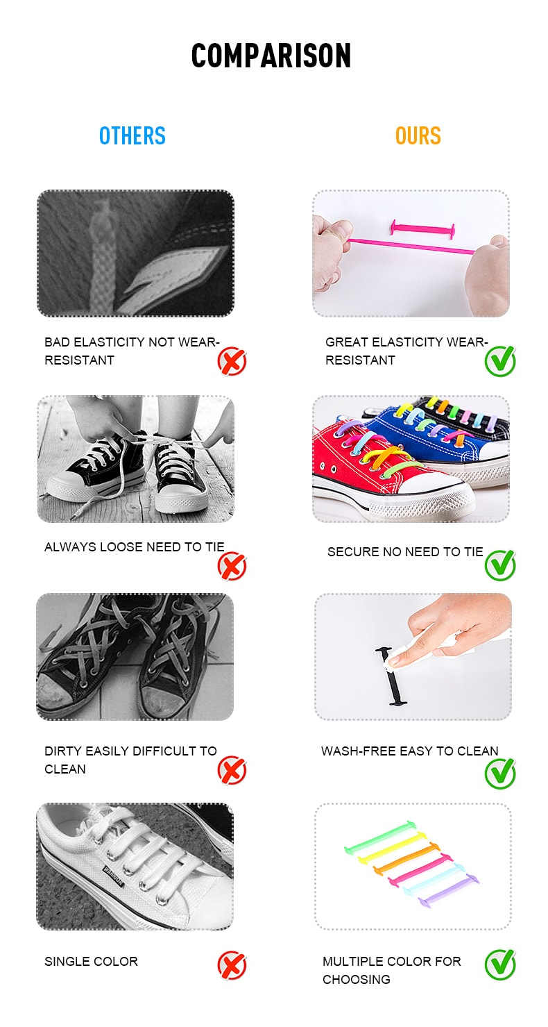Popular Colorful Elastic Silicone Free Tie Shoelace For Adult