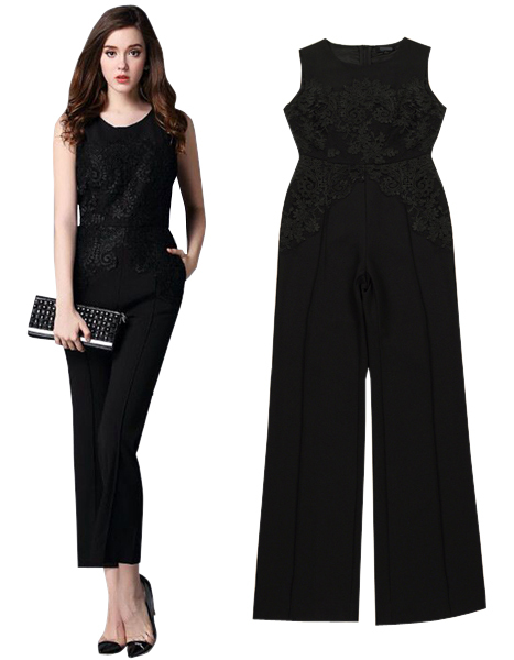 5726efc281c Get Quotations · elegant long jumpsuits for women summer style one piece  outfits black   white sleeveless lace jumpsuit