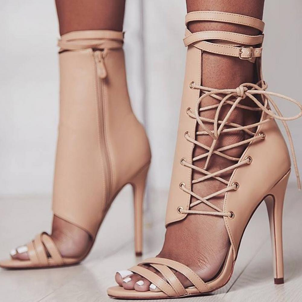 PU leather women shoes 2018 lace up high heels <strong>sandals</strong> for women
