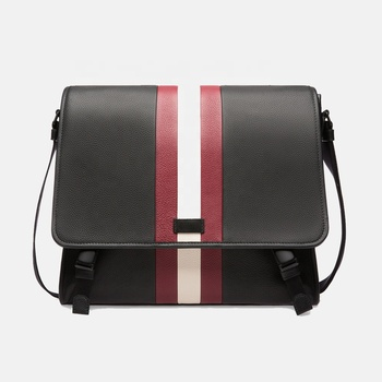 Carry all buckle fasterning stripe grained bovine leather grainy texture messenger bag