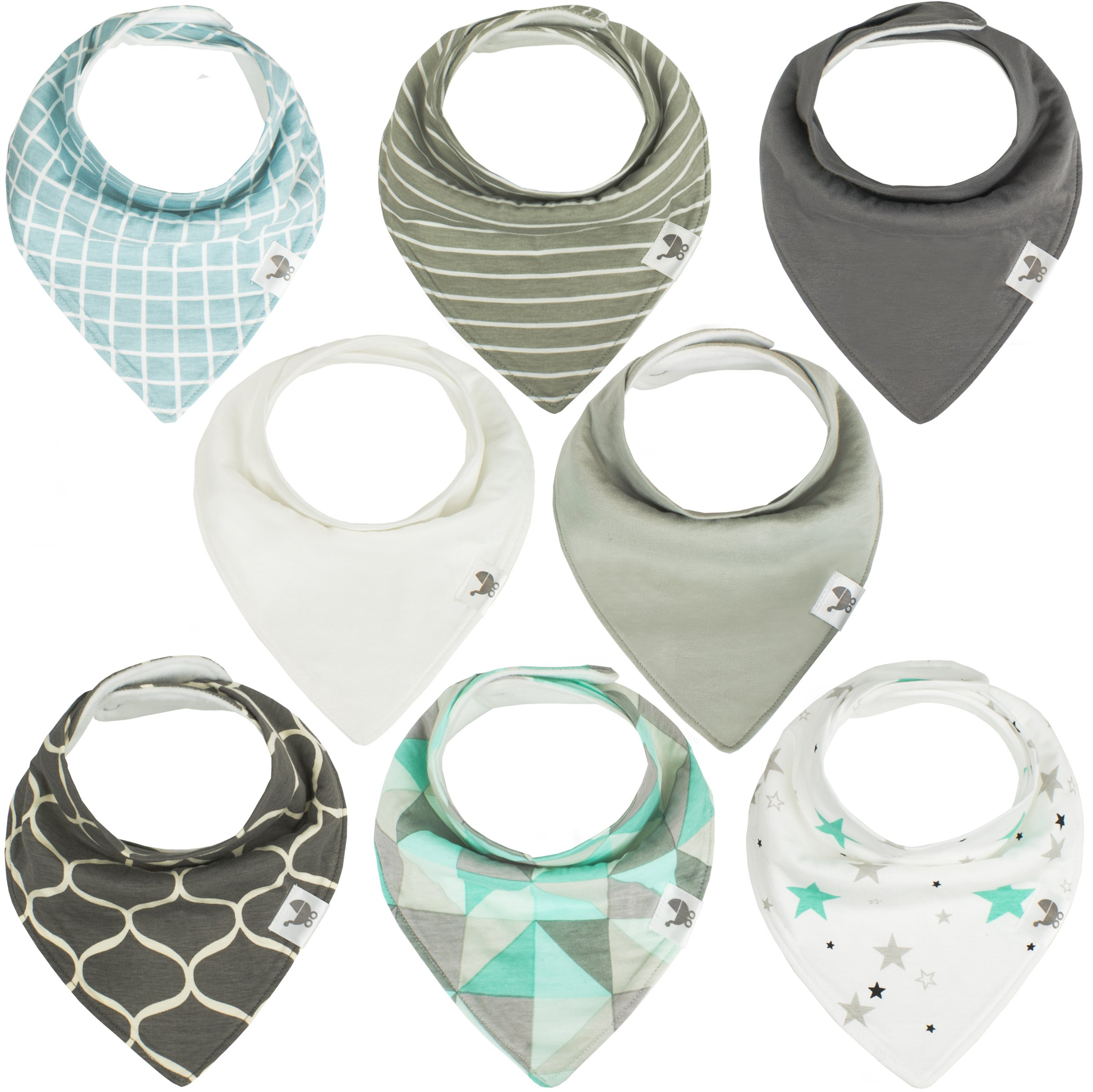 Bandana Baby Drool Bibs - 8-pack Bib Gift Set For Drooling and Teething Babies - Extra Soft & Absorbent 100% Organic Cotton - Unisex Boys & Girls - Adjustable - Hypoallergenic Burp Cloth - Mint & Gray