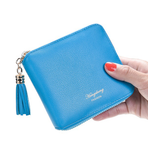 Lingyue SW1066 Simple Design Short Model Woman Famous Leather Compact Wallet With Tassel