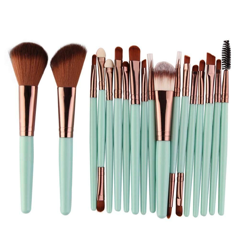 Makeup Brush Set, BSGSH 18 Pieces Cosmetic Brushes Kabuki Foundation Face Powder Blush Eyeshadow Concealer Eyeliner Lip Brushes Makeup Brush Kit with Wooden Handle (Green)