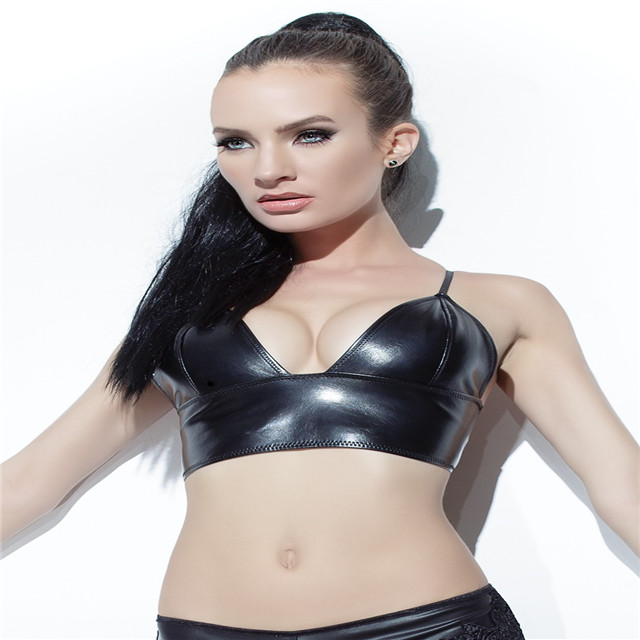 leather long line bra features adjustable straps and center back hook & eye closure