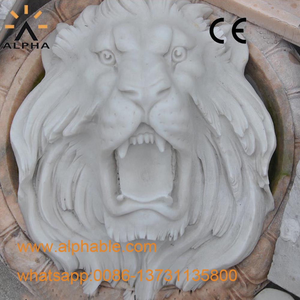 White Marble Carved Lion Head Statue Animal Head Statues