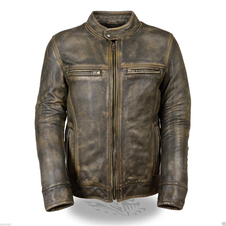 Ultimo jackets Cafe Racer Men's Biker Vintage Triple Stitch Motorcycle Green Cowhide Leather Jacket
