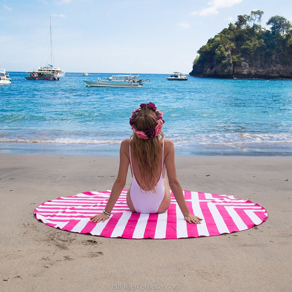 Fast Air Delivery China Good Looking Microfiber Fabric Sublimation Round Beach Towel