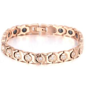 Custom 18K Rose Gold Plated Stainless Steel V Care Magnetic Bracelet For Health