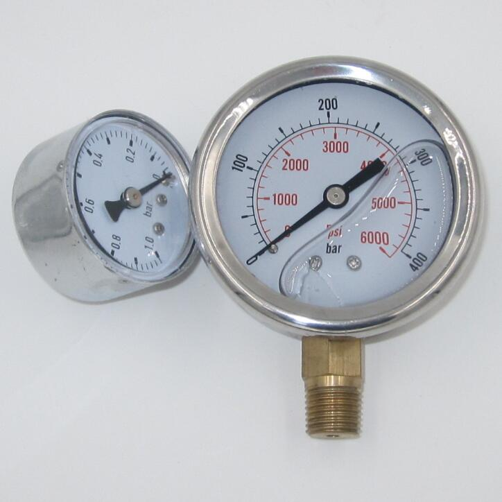 Accurate liquid filled fuel pressure gauge with CE