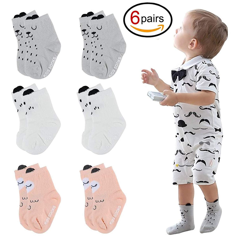 Lakem Unisex Baby Socks,Cute Non-Slip Cartoon Cotton Socks for baby Kids 6 Pairs