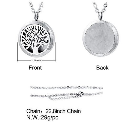 Zhongzhe Jewelry Stainless Steel Aromatherapy Necklace Essential Oil Diffuser Necklace, Tree Of Life, OEM/ODM Accept
