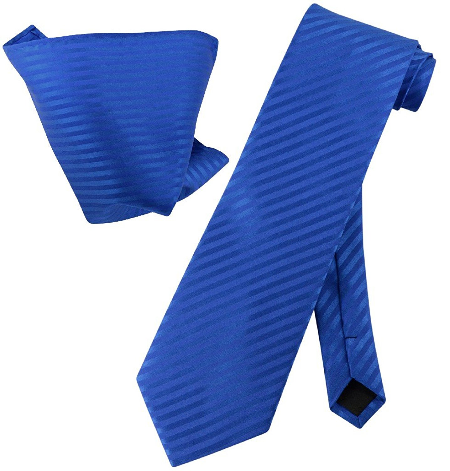 Vesuvio Napoli ROYAL BLUE Striped NeckTie & Handkerchief Matching Neck Tie Set