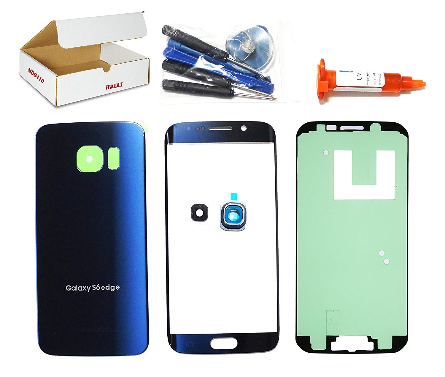 (md0410) Black Sapphire Blue Front Outer Glass Lens, Back Cover, Camera Lens Cover Replacement Compatible Galaxy S6 Edge G925 + Adhesive + Tools (LCD touch screen & Digitizer not included)