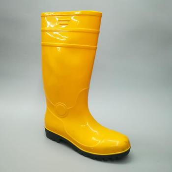 8b5703ee2058 2018 New yellow wholesale steel toe pvc safety gumboots