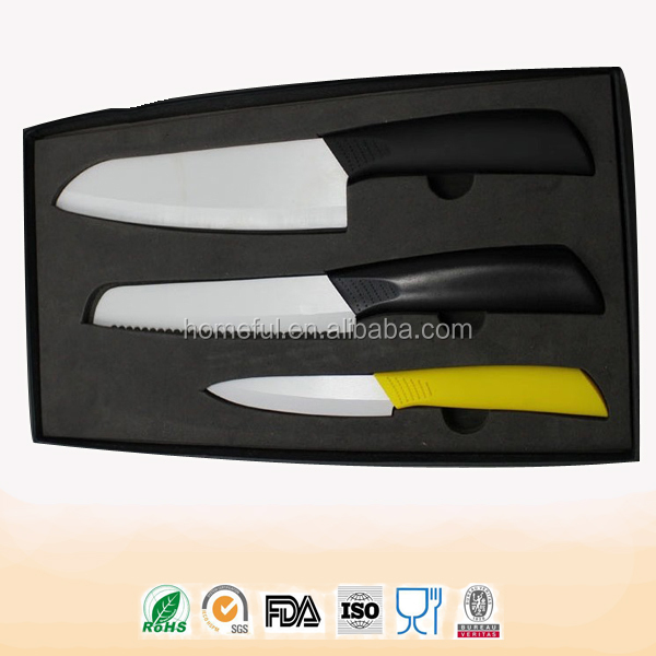 knife set including chef paring knife and ceramic serrated bread knife set