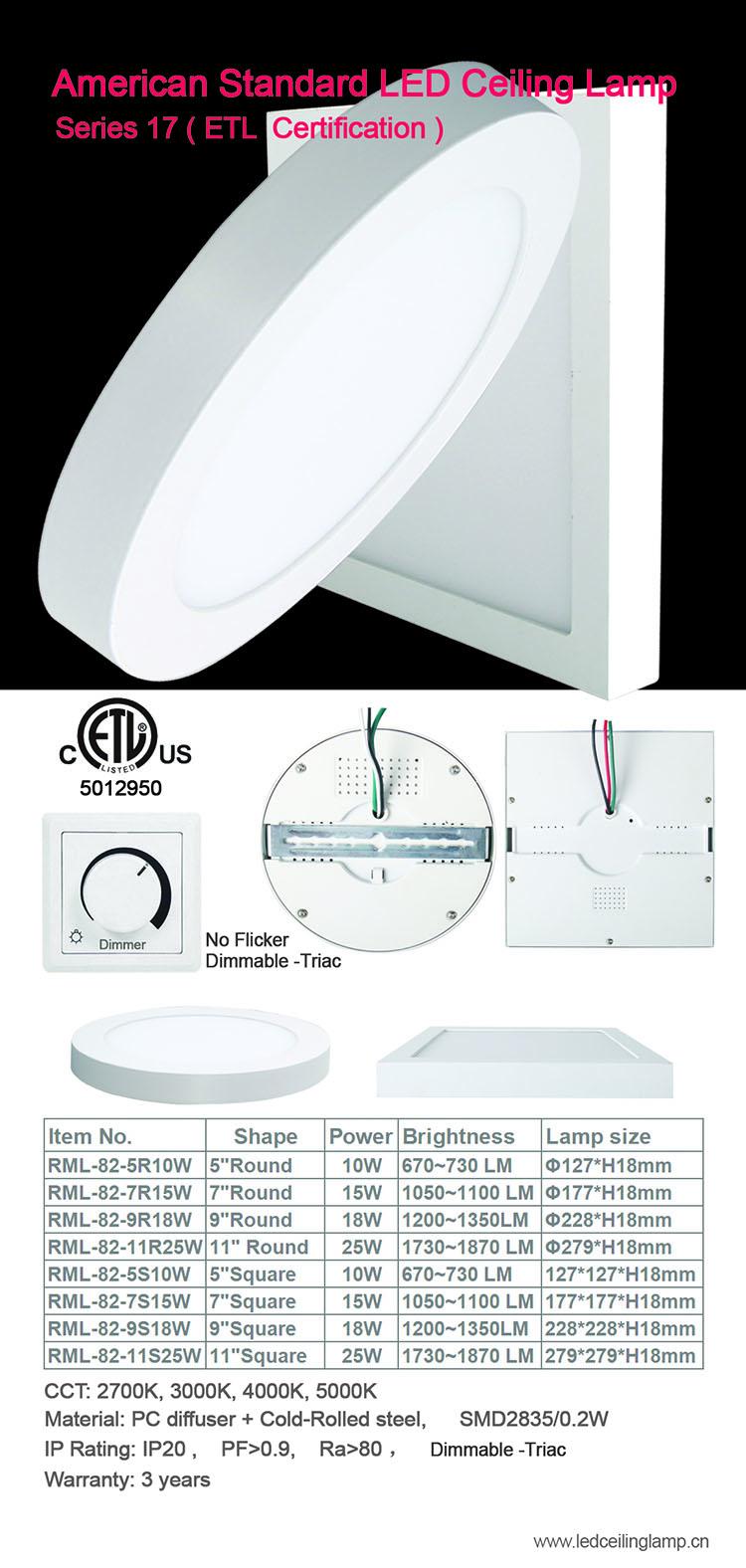 Cina Vendor Etl Partai Besar Pabrik Permukaan Dipasang Bulat Panel LED Light dengan 10 W 15 W 18 W 25 W