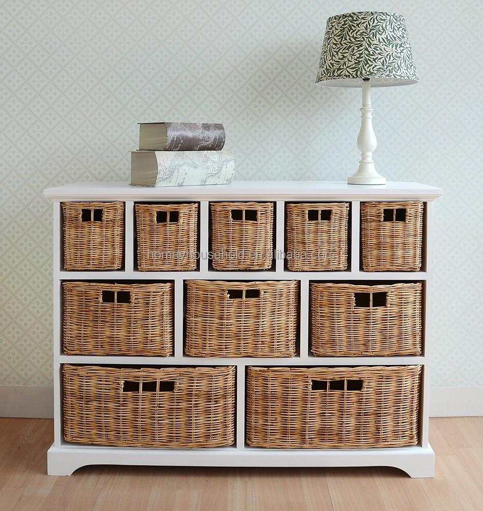 10 Wicker Baskets Storage Shelf Bedroom