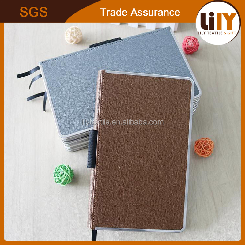 Hot products brown silver black color new pu leather cover 2017 diary with pen holder