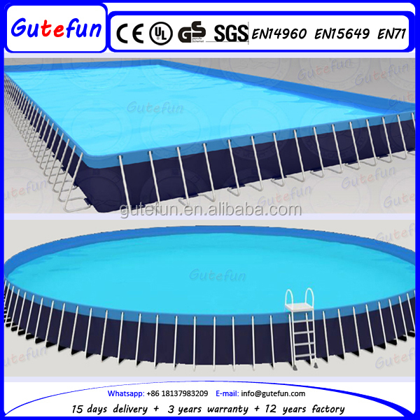 outdoor movable rectangular above ground steel bracket swimming pool