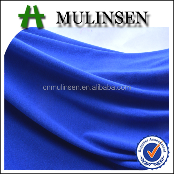 Mulinsen Textile Knitting Solid Dyed Stretch Poly Spun Single Jersey Fabric For Tank Top